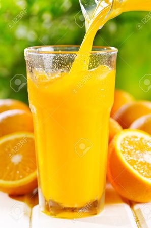 Left or right 20371106 orange juice pouring into glass stock photo